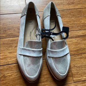 Time and Tru Silver Leather Wedge Loafer